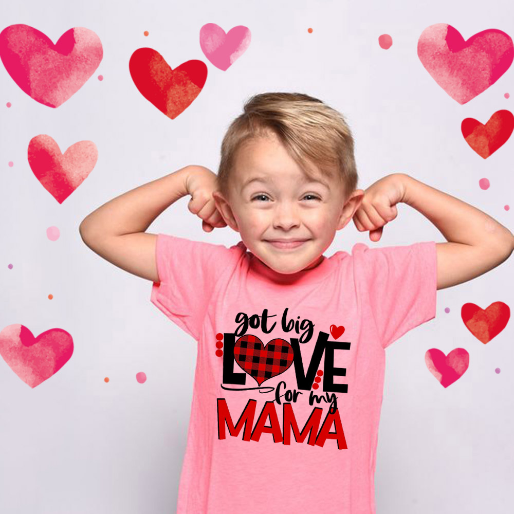Got Big Love for My Mama Plaid Love Valentines Kids Boys Shirts Toddler Tee Cute Baby Shirt Valentine's Day T-shirts Sweet Love image