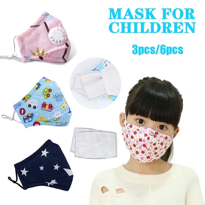 6PCS Anime Kids Children Mask Filter Cartoon Reusable Face Mouth Masks Cotton Washable Pink Black Cute Fabric Kawaii Mask