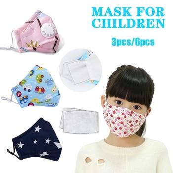 6pcs 3/4pcs Anime Kids Children Mask Filter Cartoon Reusable Face Mouth Masks Cotton Washable Pink Black Cute Fabric Kawaii Mask