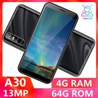 Teléfono Inteligente A30, versión Global, quad core, 4 GB RAM, 64 GB ROM, pantalla de 6,0 pulgadas, cámara de 13mp, identificación facial, desbloqueado, android, WCDMA, WIFI