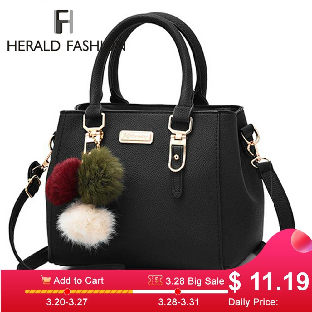 Fashion Women Handbags Hairball PU Leather Totes Bag Top-handle Embroidery Crossbody Bag Shoulder Bag Lady Simple Style Hand Bag