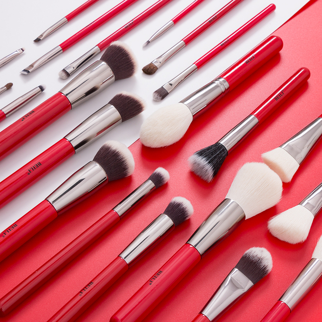 BEILI Red 30pcs Professional Makeup Brushes Set Natural Hair Powder Foundation Blush Eye shadow eyebrow liner Make up Brush Tool 1