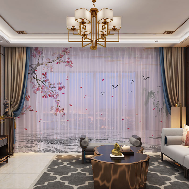 3D Curtain Photo Customize Size Tulle Floral Birds Scenery Curtain Bedroom Living Room Office Cortinas Breakdown Bathroom Shower