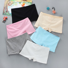 Girl's underwear flat leg pants head pure cotton solid color underpants for students