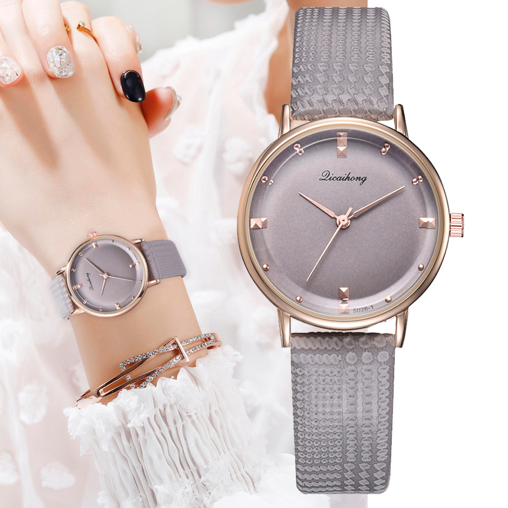 Women Watches Glass Gemstone Dial Ladies Quartz Wristwatch Simple Design Leather Strap Casual Clock Gift Relojes Para Mujer@50