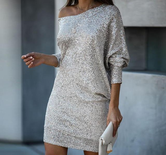 Sequin Dress Woman Bling Batwing Sleeve Vestido Party Cool Girls Dress Woman 2021 Dropshipping 1