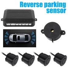 Sensor de aparcamiento para coche con Four sensores zumbador 22mm Package de respaldo reverso Radar alarma de sonido indicador sistema de sonda 12V