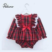 Pudcoco 2020 для маленьких девочек s Рождественская одежда комплекты
