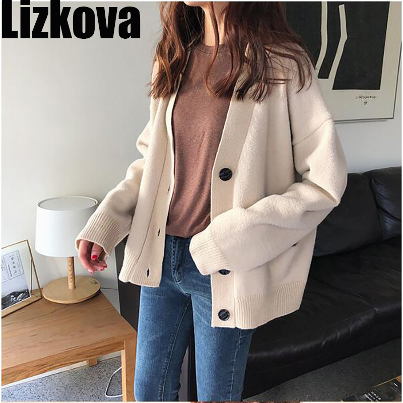 Autumn 2019 Vintage Loose Fuzzy Sweater Cardigan Chic Solid Color Knitted Short Cardigan