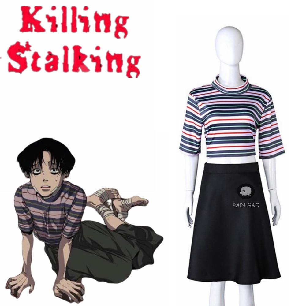 Manga Killing Stalking Yoonbum Yoon Bum Cosplay Costume Girls Casual T-Shirt+Skirt Halloween Carnival Uniforms Custom Made