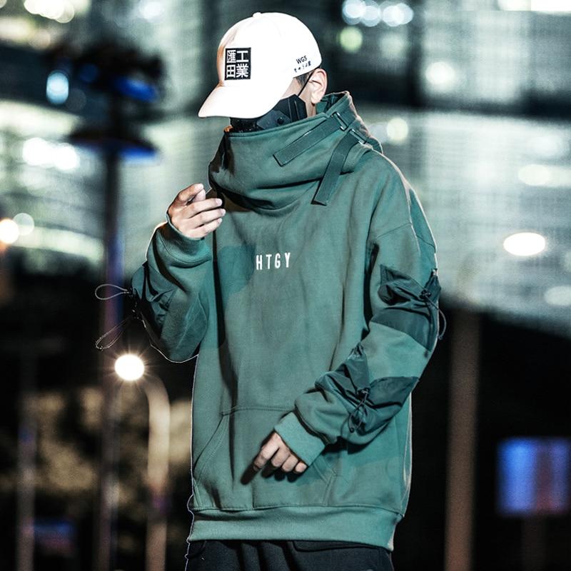 2019 Men Streetwear Harajuku Hip Hop Solid Cotton High Collar Coat Oversize Hoodies Jackets Coats