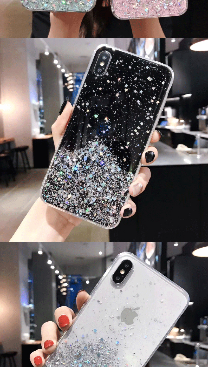 H4b9d0e0cf10a42e2866e1b02ab6b45c2X - Solid quicks Case For iphone 11 8 7 Plus 6 6s Glitter Bling Sequins Epoxy Star Case For iphone 11 Pro MAX X XR XS Soft TPU Cover