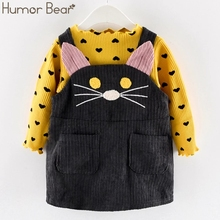Humor Bear 2019 Fall Winter Spring Girls Clothes Sets Autumn Cotton Long Sleeves Dot T-shirt+Cat Strap Dress 2Pcs Baby Clothing