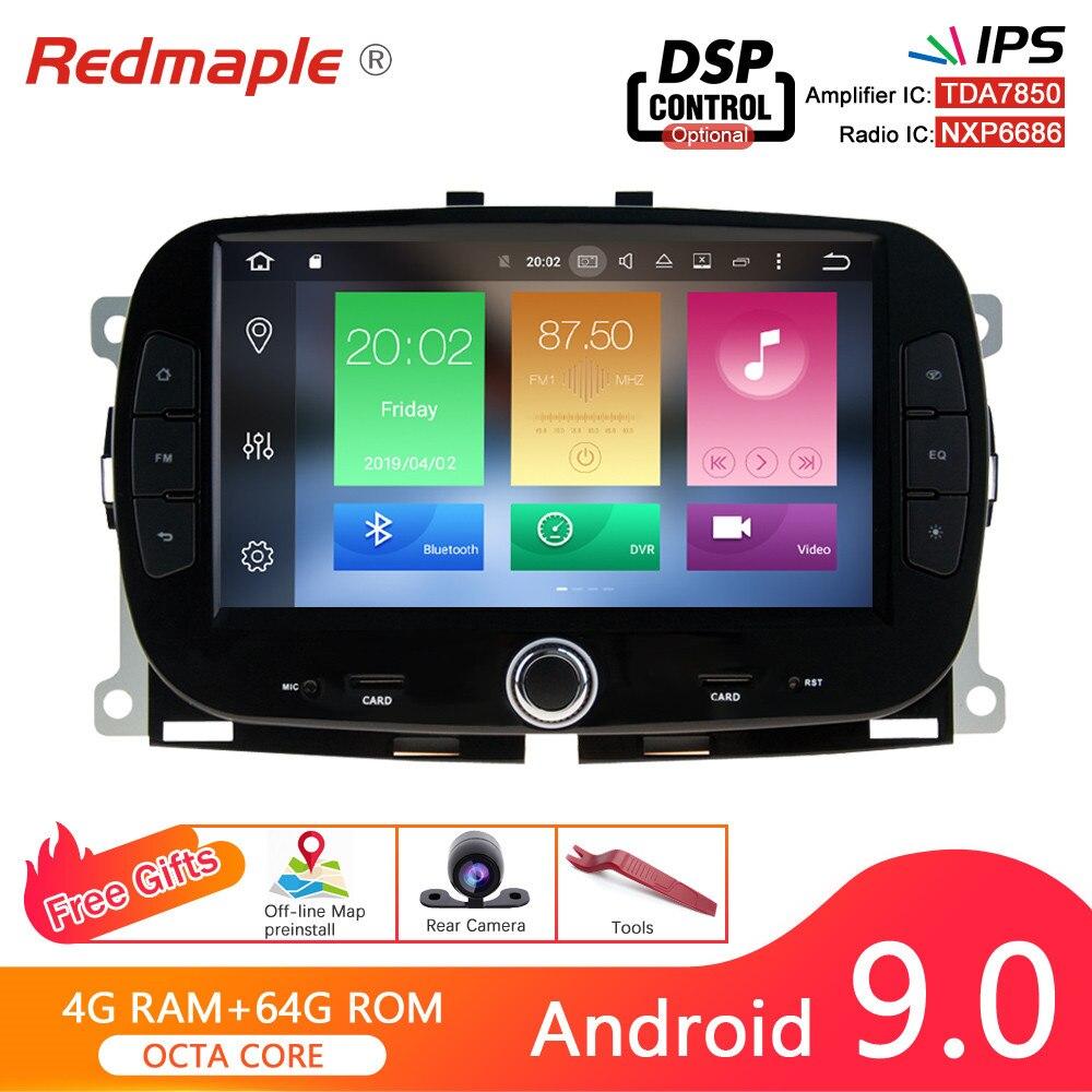 Android 9.0 Rádio Do Carro DVD Player Multimídia Para Fiat 500 2015 + GPS WIFI Bluetooth Estéreo Vídeo Navegação 4G RAM