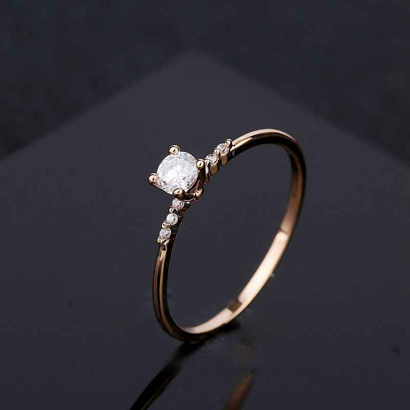 MIGGA mince Style 4MM cubique Zircon bague en pierre pour les femmes de fiançailles couleur or Rose bijoux en cristal CZ