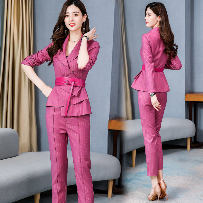 2020 Spring New Style Commuting Irregular Waist Hugging Stripes Small Suit Coat Slimming Skinny Pants Fashion WOMEN'S Suit