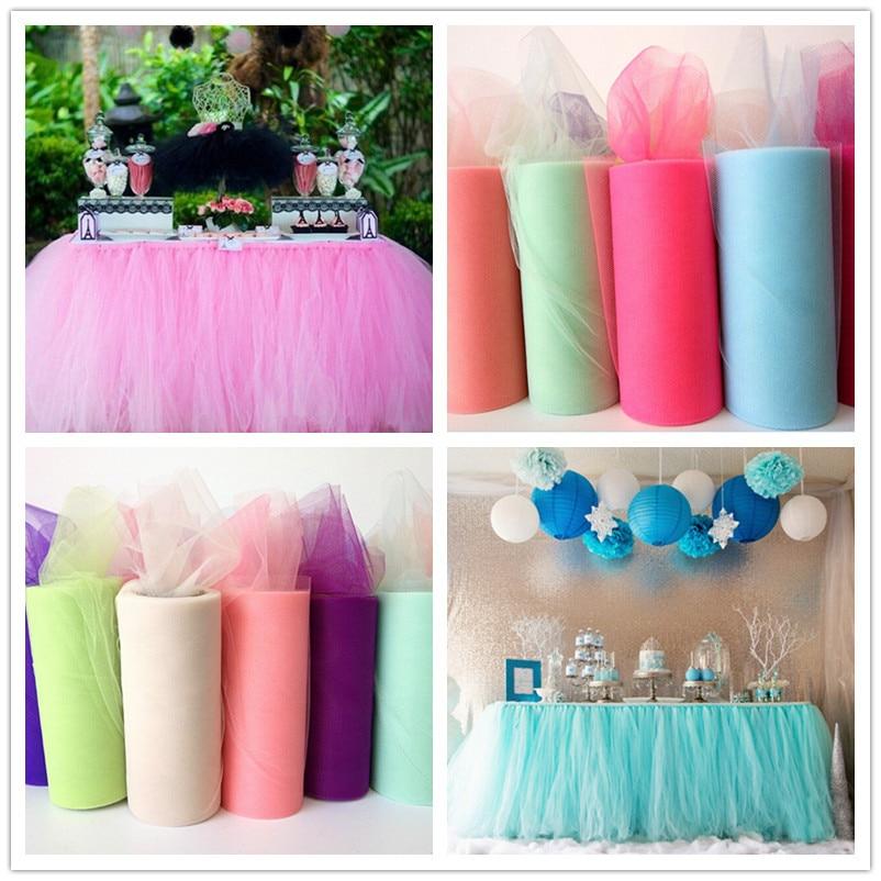 22mX15cm Wedding Table Runner Decoration Yarn Roll Crystal Tulle Organza Sheer Gauze Element Wedding Favors