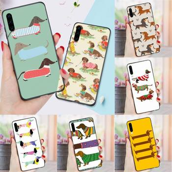 Cartoon Dachshund Sausage Dog Phone Case For Huawei P 9 10 40 Mate 30 Honor 8 8A 20 20s 9x nova 6se 5t Y9s PSMART lite pro 2017 image