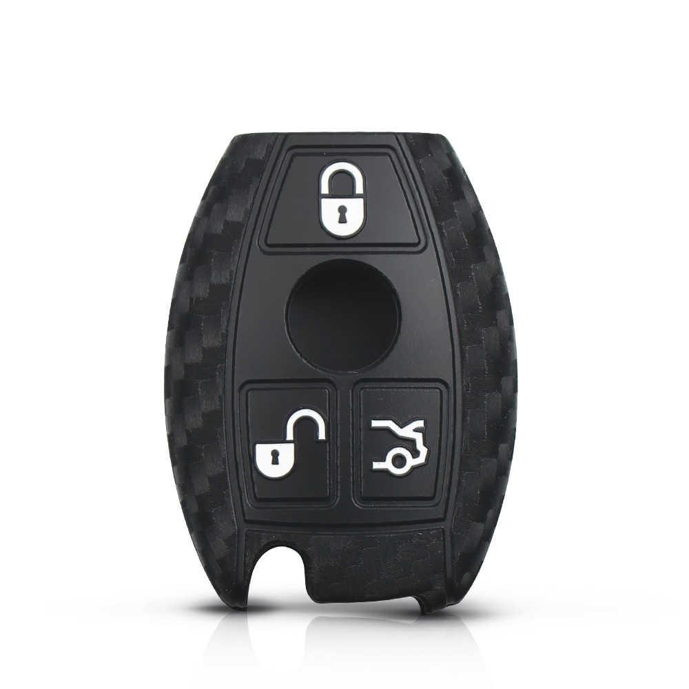 KEYYOU 4 Nút Điều Khiển Từ Xa Không Cần Chìa Khóa Chìa Khóa Xe Ô Tô Sợi Carbon Dẻo Silicone Dành Cho Xe Mercedes Benz Năm 2000 + NEC & BGA E S CL CLS CLA CLK W203