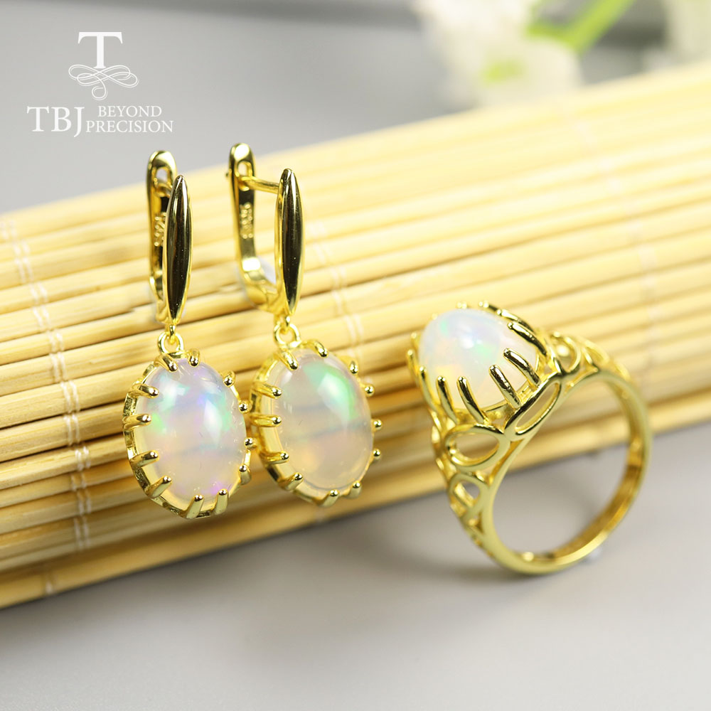 TBJ ,16ct Big Size Oval 10*14mm Opal Jewelry Set Natural Ethiopia Opal Gemstone Earring Ring 925 Sterling Silver Fine Jewelry