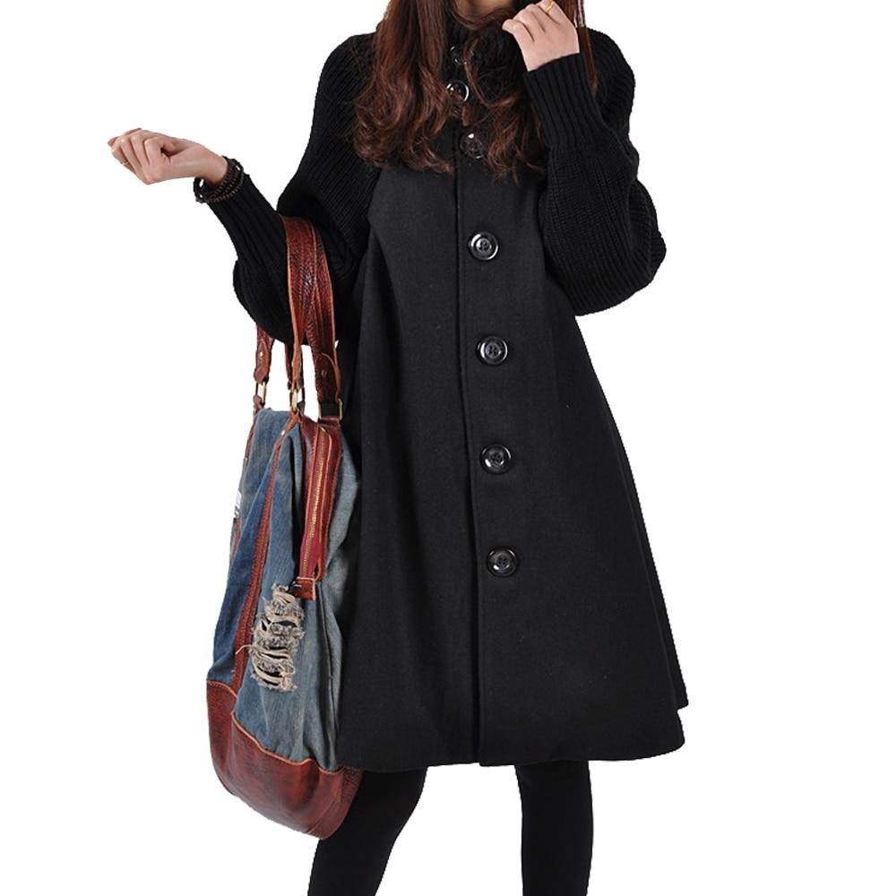 Autumn Winter Coat Women 2019 Casual Vintage Patchwork Cloak Plus Size Coats Female Elegant Warm Black Long Coat casaco feminino 9