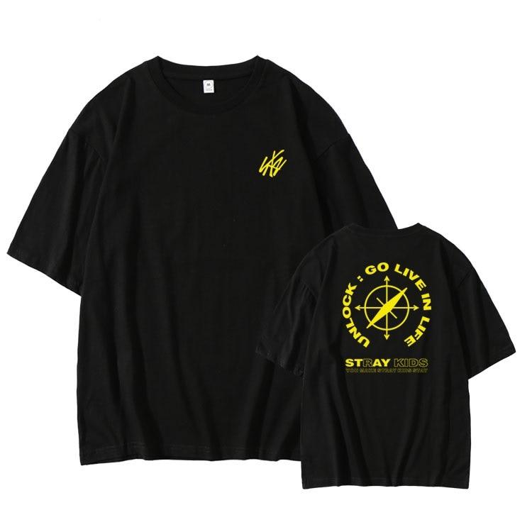 Summer style kpop straykids online concert same printing t shirt unisex stray kids o neck dropped shoulder sleeve t-shirt