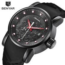 BENYAR Unique Design Luxury Top Brand Watch Men Fashion Sport Business Casual Chinese Dragon Quartz Watches Relogio Masculino