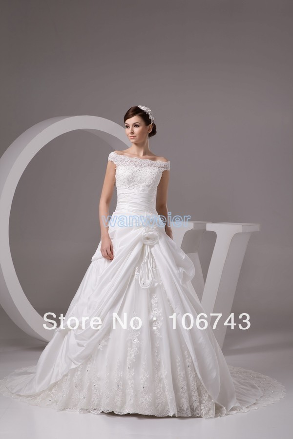 Free Shipping New Fashion 2016 Affeta With Flowers White/Ivory Lace Beaded Wedding Dresses/Bridal Gowns Custom