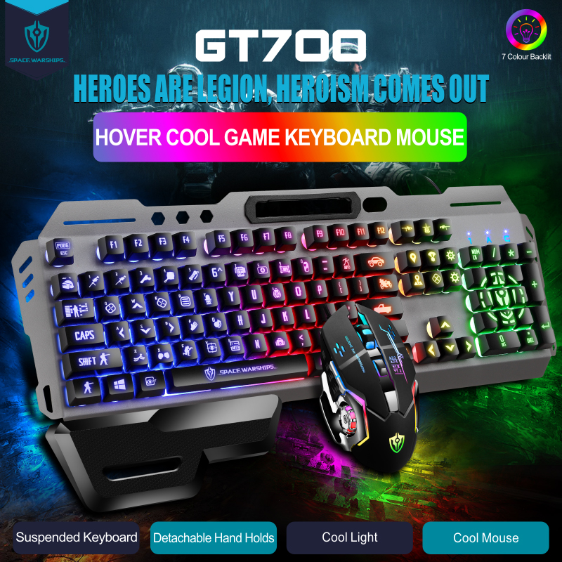 Gaming Keyboard And Mouse USB Wired PC Gaming Keyboard And Mouse Set Waterproof Backlight Multimedia Mouse And Keyboard Set Gray
