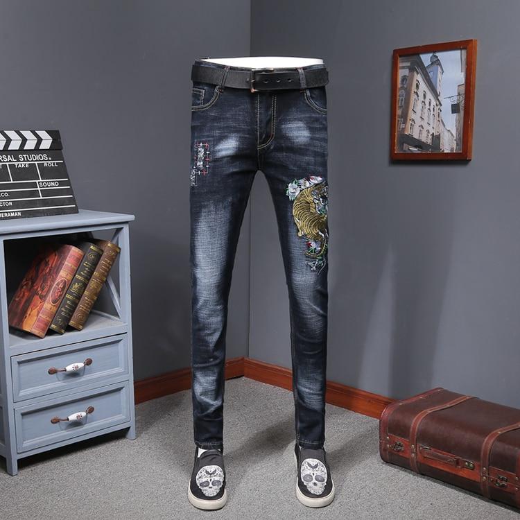 Mens Colored Jeans Trendy Fashion Design Embroidery Stretch Denim Pants Straight Trousers Slim Fit Jeans Men Erkek Jean Pantolon