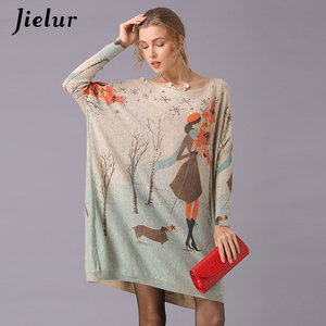 Image 1 - Jielur Sweater Women Cartoon Printed Long Sleeve Jumper Kawaii Knitted Sweaters Spring Autumn Pullover Basic Pull Femme