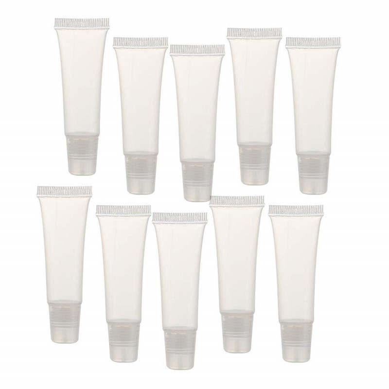 50 Pack 10Ml Lip Gloss Tubes Empty Lotion Refill Tubes Soft Squeeze Tubes For DIY Travel Distribution Bottle