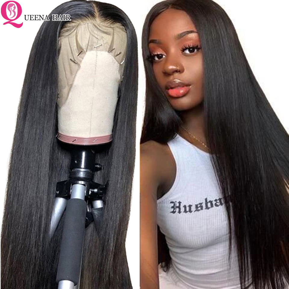 Transparent Lace Front Wig Brazilian Straight Lace Frontal Human Hair Wigs13x4 Pre Plucked Remy150% Natural Black Front Lace Wig