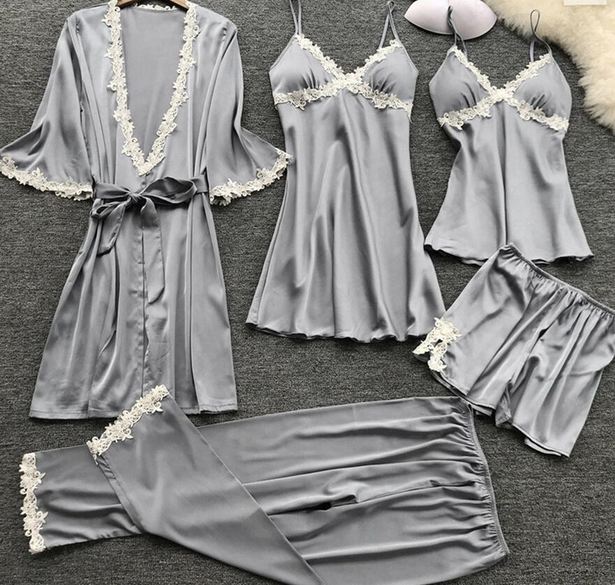 Plus Size 3XL 2019 Women Pajamas Sets Satin Sleepwear Silk 5 Pieces Nightwear Pyjama Spaghetti Strap Lace Sleep Lounge Pijama
