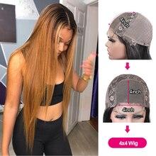 Pelucas con cierre de encaje rubio miel 4x4, pelucas de cabello humano con encaje frontal Remy brasileño prearrancado 180% para mujeres negras