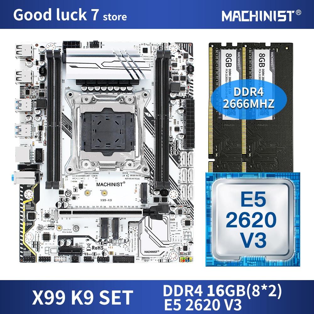 X99 motherboard LGA 2011-3 set kit with Intel xeon E5 2620 V3 processor DDR4 16GB(2*8GB) 2666MHz RAM  M-ATX NVME M.2 SSD X99-K9 1