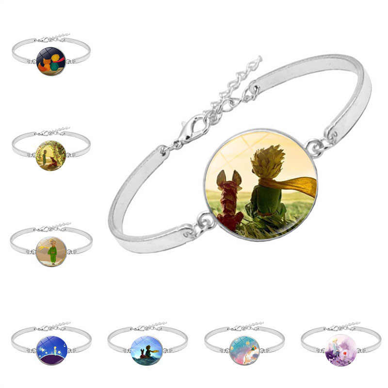 Le Petit Prince B-612 Planet Glass Cabochon Bracelet Banlge with The Little Prince Fox Rose Pattern Bracelet Jewelry