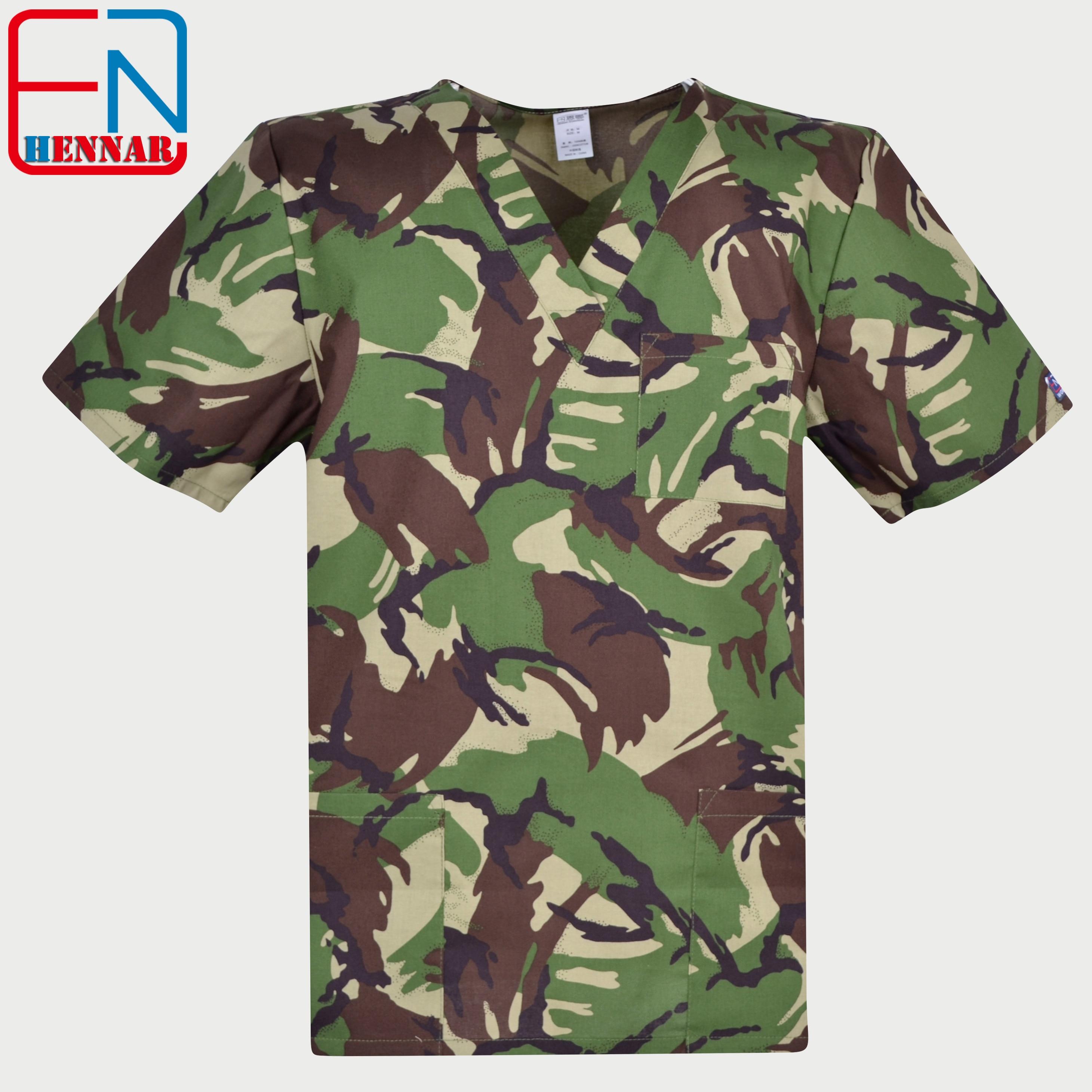 Hennar Brand Men Medical Scrub Top 100% Cotton Medical Uniforms