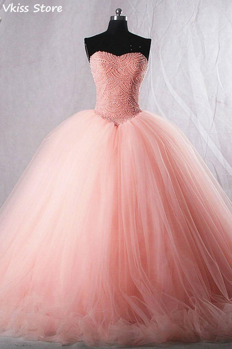 Flush Pink Evening Dress Ball Gown Tulle Beading Strapless Sweetheart Neck Sweep Train For Graduate Prom Dress вечерние платья