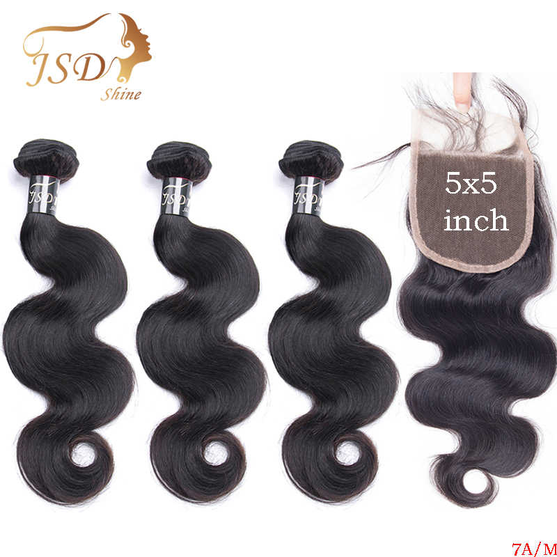 JSDShine Body Wave Human Hair Bundles With Closure Brazilian Hair Weave Bundles With 5x5 Lace Closure Natural Color Remy Hair