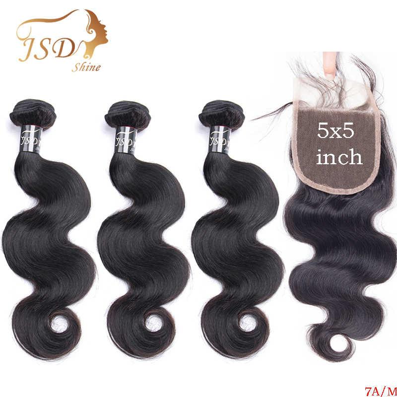 JSDShine ciało fala wiązki ludzkich włosów z zamknięciem brazylijski włosy wyplata wiązki z 5x5 zamknięcie koronki naturalne kolorowe włosy typu remy