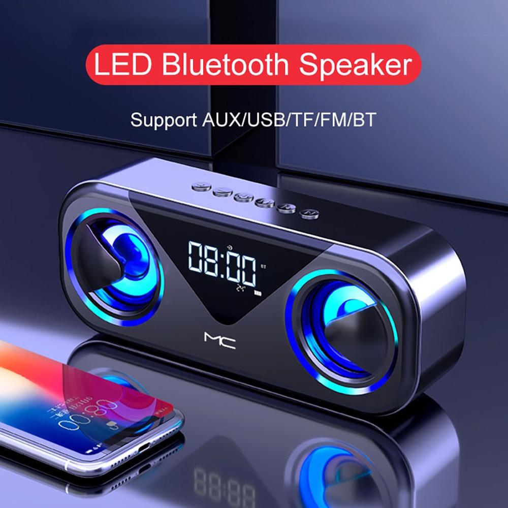 FM Radio Altavoces Bluetooth Speakers LED Caixa De Som Amplificada Alarm Clock Alto-falantes Subwoofer Home Theater Boombox Sono