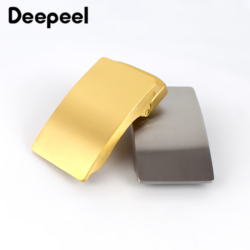Deepeel 36mm Men's Stainless Steel Belt Buckle Without Teeth Automatic Buckle Head DIY Business Leather Craft Belt Accessories