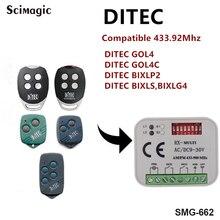 Receptor de puerta de garaje para Receptor de control DITEC GOL4/4C/BIXLP2/BIXLS/BIXLG4 433,92 MHz
