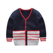 England Style Baby Boys cardigan Sweater 2019 New Autumn Children Clothing V Neck Striped Kids Knitted fashion Coat