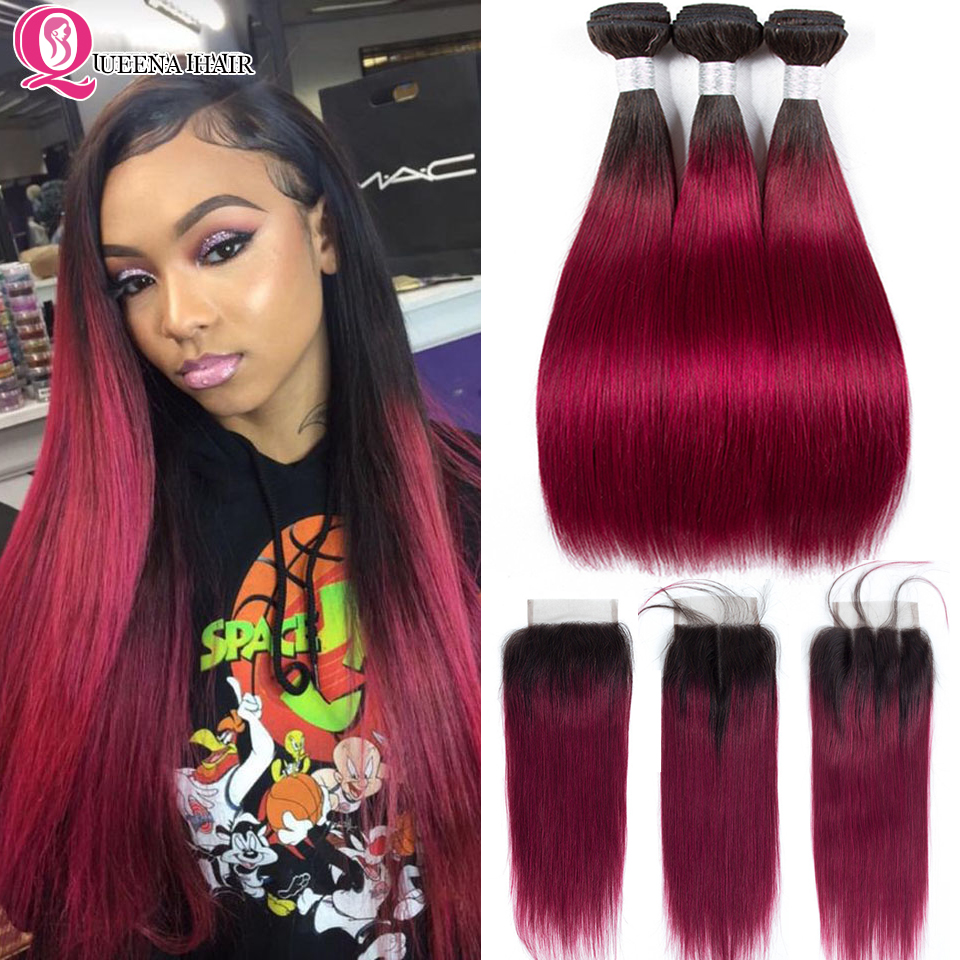 Cheap Ombre 1B Burgundy Bundles With Closure Pre Colored Peruvian Straight Human Hair Ombre Burgundy Bundles With Closure Remy