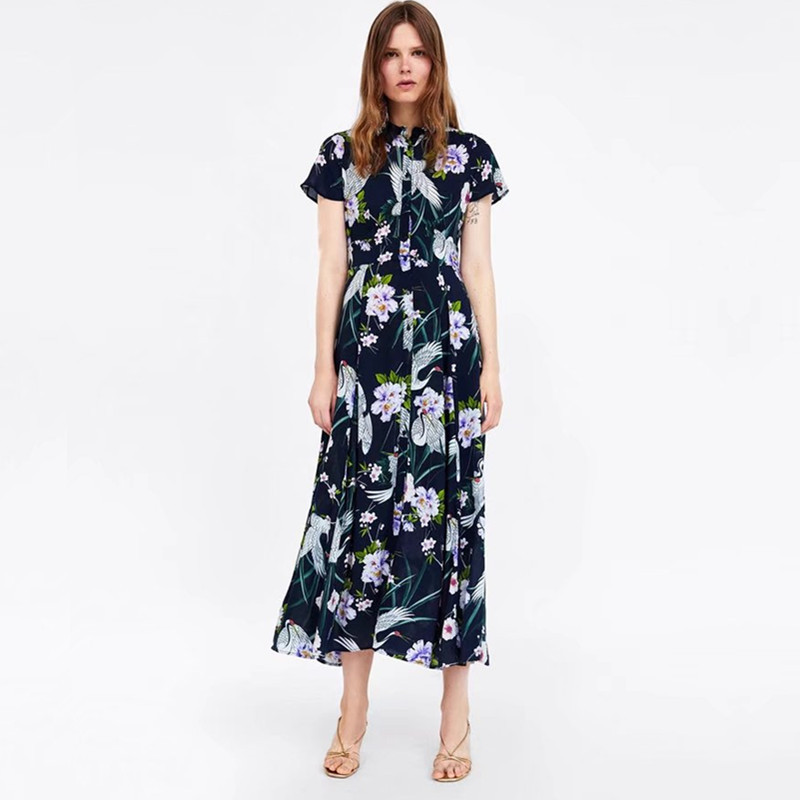 2018 Summer New Style WOMEN'S Dress Western Style Fold-down Collar Short Sleeve High-waisted Crane Printed Shirt Long Dress Wome
