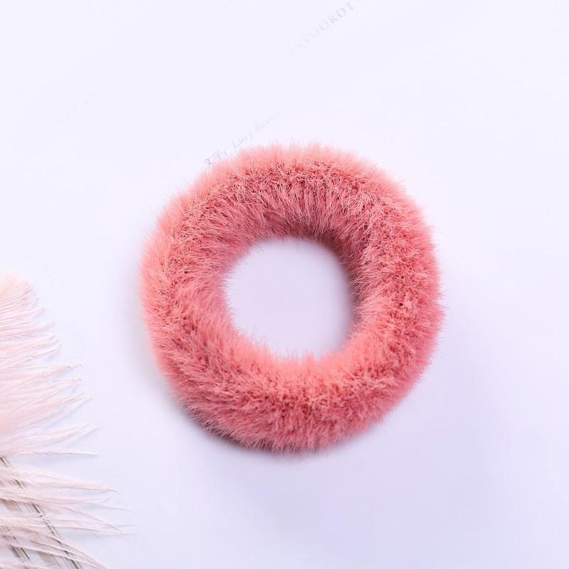 Мягкая Плюшевая повязка для волос резинки для волос натуральный мех кроличья шерсть мягкие эластичные резинки для волос для девочек однотонный цветной хвост резинки для волос для женщин - Цвет: 5