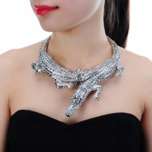 JEROLLIN Big Two Crocodiles Necklaces Inlay Full Rhinestones Women Big Choker Alloy Statement Jewelry Bib Collar Maxi Necklace
