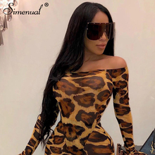 Simenual Leopard Sexy Fitness Fashion 2019 Bodysuits Women Bodycon Off Shoulder Overalls One Piece Flare Long Sleeve Bodysuit